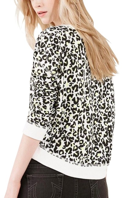 Item - White and Black and Yellow Neon Snow Leopard Pullover Sweatshirt/Hoodie Size 8 (M)