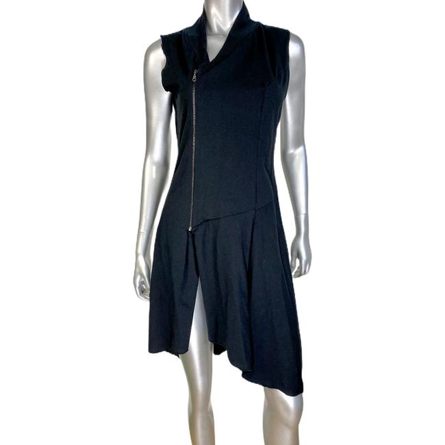 Item - Black Asymmetrical Zipper Short Casual Dress Size 8 (M)