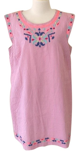Item - Pink Embroidered Medallion Seersucker Short Casual Dress Size 16 (XL, Plus 0x)