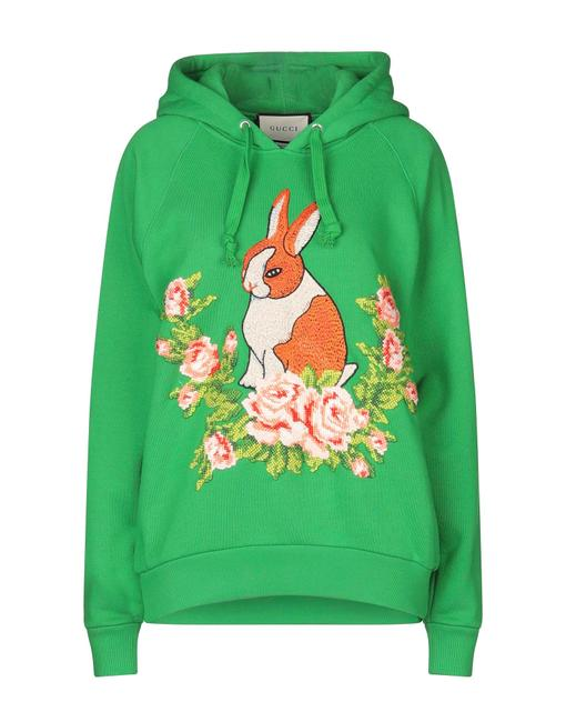 Item - Embroidered Printed Floral Bunny Sweatshirt S Green Sweater