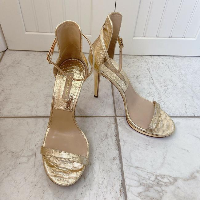 Item - Gold Doris Platform Metallic Snake Ankle Strap Sandals Size US 8 Regular (M, B)