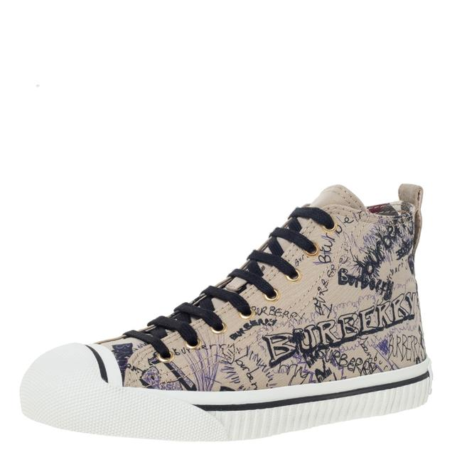 Item - Beige Canvas Kingly Print High Top Sneakers Flats Size US 7.5 Regular (M, B)