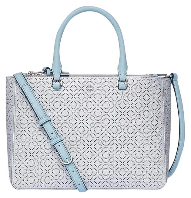 Tory Burch Robinson New Perforated Metallic Small Multi Soft Silver Leather Tote Tory Burch Robinson New Perforated Metallic Small Multi Soft Silver Leather Tote Image 1