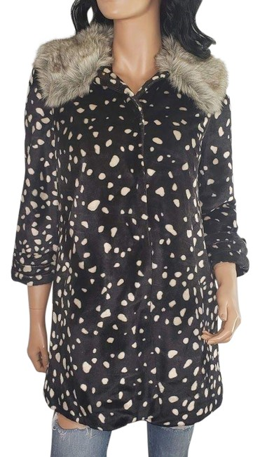 Item - Black Elevenses Polka Dot Faux Jacket Coat Size 4 (S)