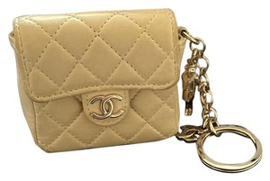Chanel Chanel quilted mini pouch key chain