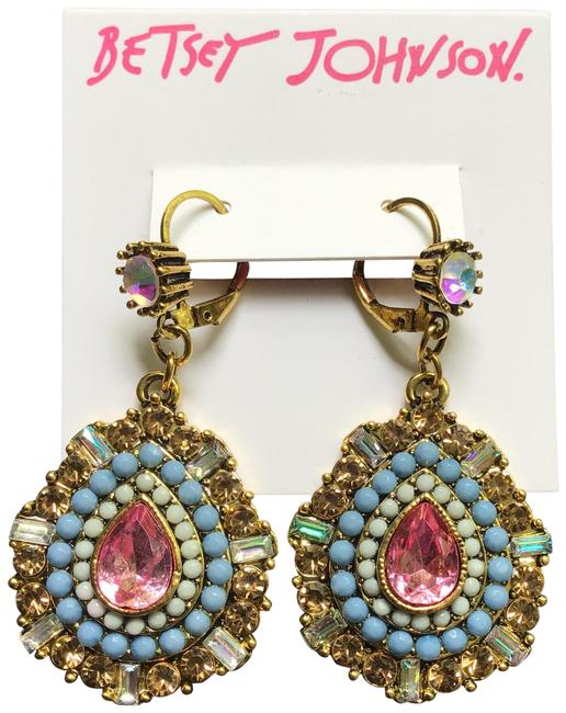 Item - Multicolor W Oval Drop W/Pave' Stones and Beads Earrings