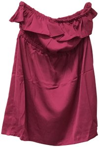Poetry Monochrome Ruffle Stretchy Elastic Top Fuchsia