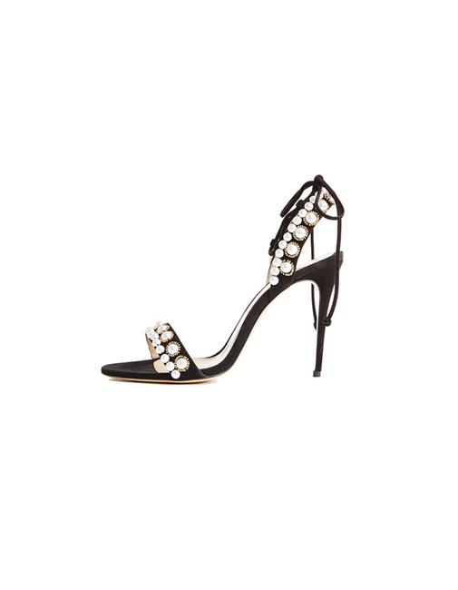 Item - Black Suede Faux Pearl Reese Sandals Size EU 38.5 (Approx. US 8.5) Regular (M, B)