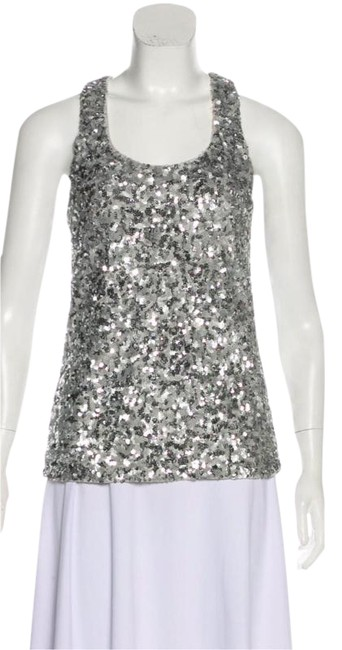 Item - Silver Scoop Neck Sleeveless Tank Top/Cami Size 2 (XS)
