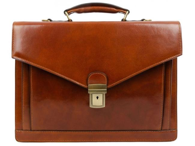 Item - Briefcase/Messenger - The Magus Amber Brown Cowhide Leather Messenger Bag