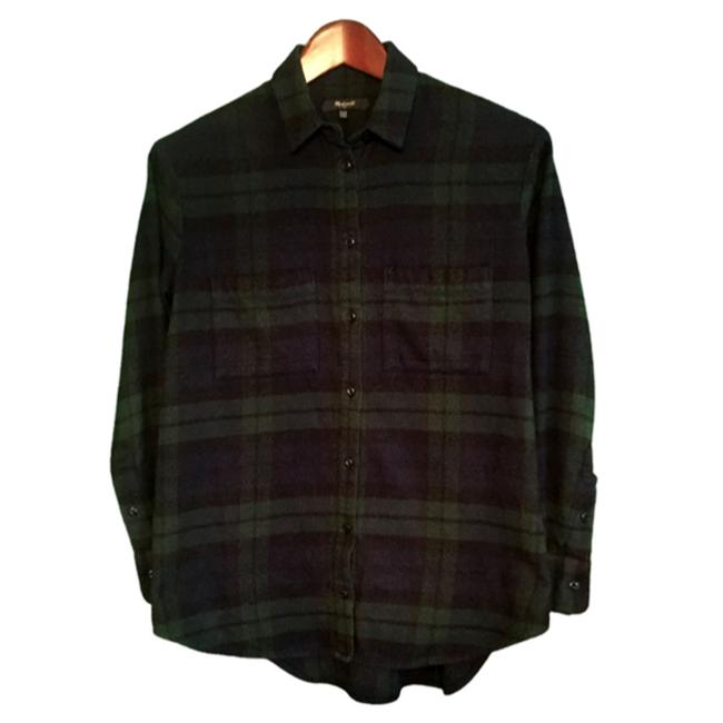 Item - Green Black Flannel Buffalo Check Shirt Xxs Button-down Top Size 00 (XXS)
