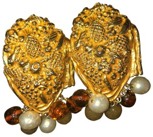 Dominique Aurientis Vintage Gold Beaded Clip-on Earrings