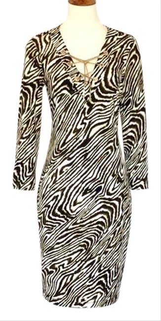 Item - Brown/White Animal Print Gold Chain Neck Mid-length Work/Office Dress Size 4 (S)