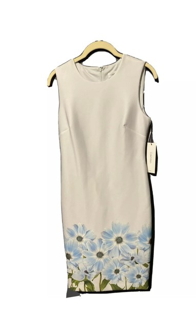 Item - White Blueish Floral Mid-length Short Casual Dress Size 4 (S)