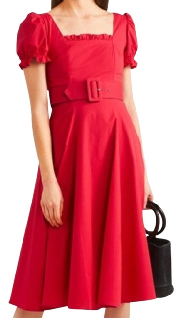 STAUD Red Maryann Belted Mid-length Night Out Dress Size 6 (S) STAUD Red Maryann Belted Mid-length Night Out Dress Size 6 (S) Image 1