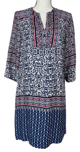 Item - Red Blue Navy Cream Floral Tunic Short Casual Dress Size 6 (S)