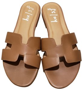French Sole Leather Flat Brown H Style Cognac Sandals