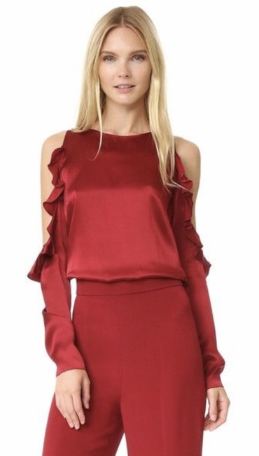 Item - Red Silk Charmeuse Cold Shoulder Blouse Size 6 (S)