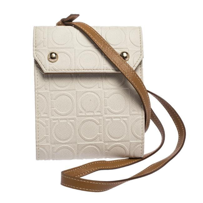Item - White White/Brown Gancini Embossed Leather Bag Wallet