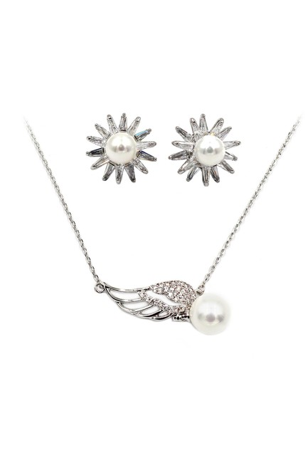 Ocean Fashion Silver Mini Wing Pearl Earring Set Necklace Ocean Fashion Silver Mini Wing Pearl Earring Set Necklace Image 1