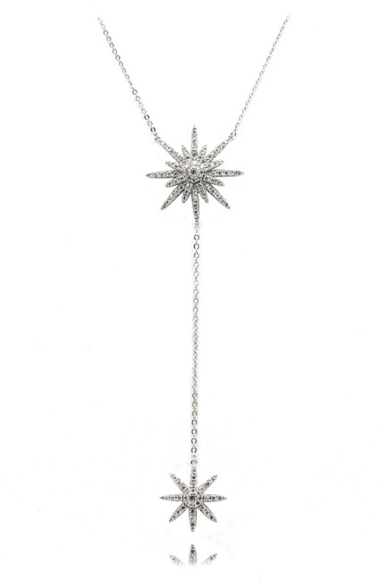 Ocean Fashion Silver Sterling Starfish Crystal Necklace Ocean Fashion Silver Sterling Starfish Crystal Necklace Image 1