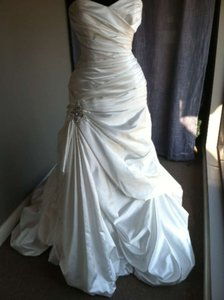 Maggie Sottero Alabaster Satin Kendra Wedding Dress Size 12 (L)