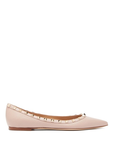 Item - Beige Mf Rockstud Leather Flats Size EU 38.5 (Approx. US 8.5) Regular (M, B)