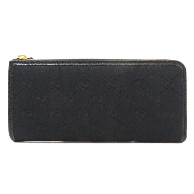 Item - Black Long 268917 Gg Outlet Round Zipper Canvas Unisex Wallet