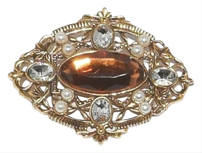 Item - Gold / Amber Topaz Crystals Faux Pearl Tone Ornate Duo Pendant Brooch Necklace