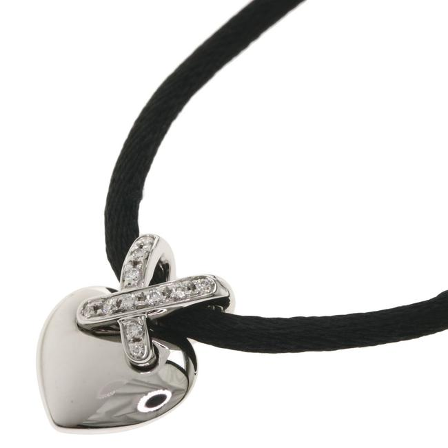 Item - Black / White ian Diamond Heart Cord 18k Gold Ladies Necklace