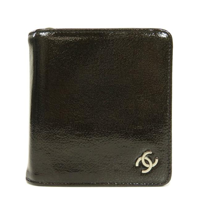 Item - Black Coco Mark Bi-fold Patent Leather Ladies Wallet