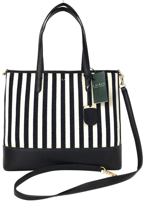 Item - Shoulder Bag Zip Top Blue White Fabric Leather Tote