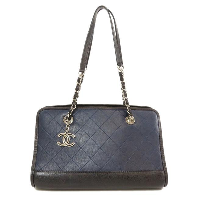 Item - Coco Mark Calf Ladies Black / Navy Shoulder Bag