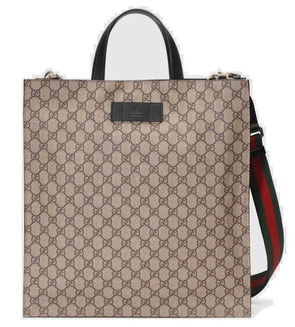 Gucci Shoulder Crossbody New Web Tall Tote Beige Brown Black Gg Supreme Canvas Messenger Bag Gucci Shoulder Crossbody New Web Tall Tote Beige Brown Black Gg Supreme Canvas Messenger Bag Image 1