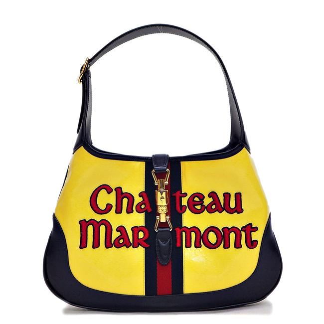 Item - Jackie Hobo Marmont Chateau 550152 Ladies Medium Navy / Yellow Patent Leather Shoulder Bag