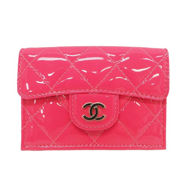 Item - Pink / White Classic Small Flap Ap0230 Fluorescent Patent Leather Enamel Tri-fold Ladies Wallet