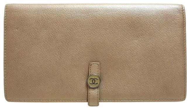 Chanel Beige Coco Button Folded Gold Mark Women Wallet Chanel Beige Coco Button Folded Gold Mark Women Wallet Image 1