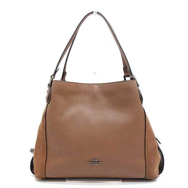 Item - Edie Tote Polished Pebble Leather X 20164 Ladies Black / Brown Suede Shoulder Bag