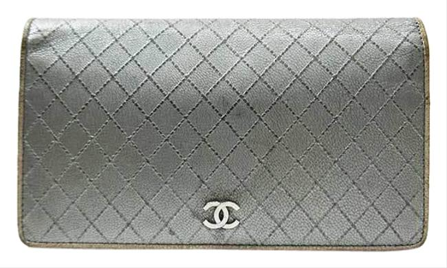 Chanel Gold / Silver Long Bi-fold Bicolore Rhombus Stitch Leather Hardware A33911 Wallet Chanel Gold / Silver Long Bi-fold Bicolore Rhombus Stitch Leather Hardware A33911 Wallet Image 1