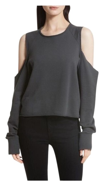 Item - Black / Charcoal / White Cold Shoulder Oversize Marl Pullover Sweatshirt/Hoodie Size 2 (XS)
