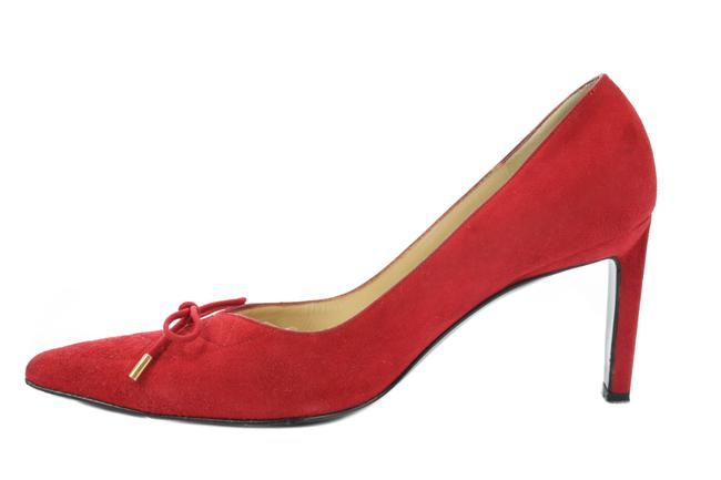 St. John Red Suede Quilted Pumps Size US 7.5 Regular (M, B) St. John Red Suede Quilted Pumps Size US 7.5 Regular (M, B) Image 1