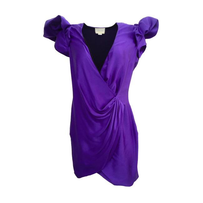 Item - Purple Deep V Ruffle Sleeve Short Night Out Dress Size 8 (M)