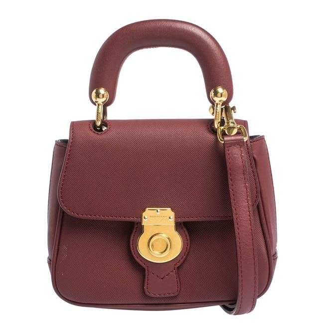 Burberry Top Handle Bag Mini Dk88 Burgundy Leather Clutch Burberry Top Handle Bag Mini Dk88 Burgundy Leather Clutch Image 1