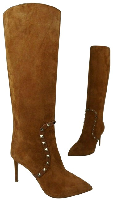 Valentino Brown Rockstud Suede Pointy Toe Tall Boots/Booties Size EU 40 (Approx. US 10) Regular (M, B) Valentino Brown Rockstud Suede Pointy Toe Tall Boots/Booties Size EU 40 (Approx. US 10) Regular (M, B) Image 1