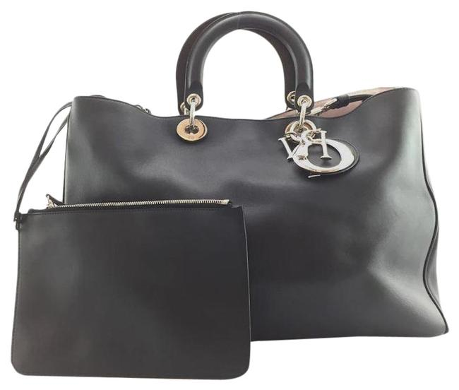 Dior With Pochette Silver Large Diorissimo Black Leather Shoulder Bag Dior With Pochette Silver Large Diorissimo Black Leather Shoulder Bag Image 1