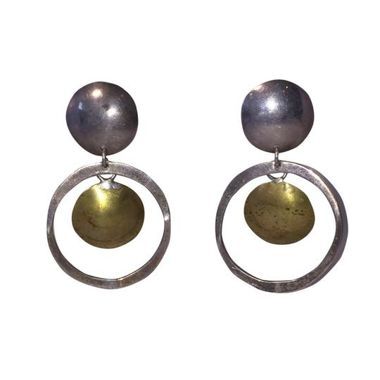 Preload https://img-static.tradesy.com/item/27510823/silver-mexican-brutalist-sterling-and-brass-disc-hoop-earrings-0-0-540-540.jpg