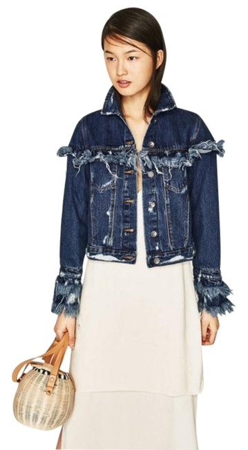 Preload https://img-static.tradesy.com/item/27510860/zara-blue-frayed-ripped-distressed-jacket-size-8-m-0-1-650-650.jpg