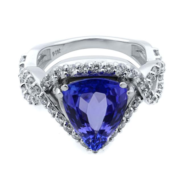 Rachel Koen 14k White Gold Pear Cut Tanzanite and Diamond Crossover Size 7 Ring Rachel Koen 14k White Gold Pear Cut Tanzanite and Diamond Crossover Size 7 Ring Image 1