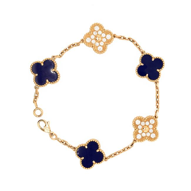 Van Cleef & Arpels Gold Vca 50th Anniversary Lapis Lazuli and Diamond 5 Motif Vintage Alhambra Bracelet Van Cleef & Arpels Gold Vca 50th Anniversary Lapis Lazuli and Diamond 5 Motif Vintage Alhambra Bracelet Image 1