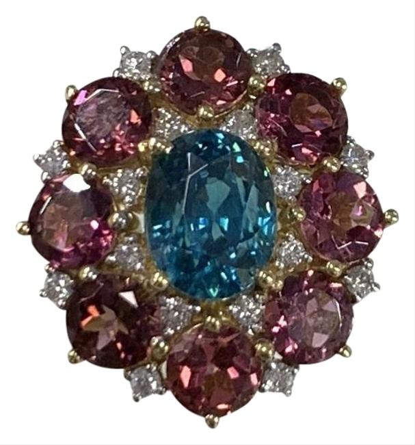 Blue Zircon and Tourmaline Flower Ring Blue Zircon and Tourmaline Flower Ring Image 1